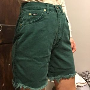 Vintage emerald green high waisted cut off jeans